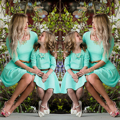 Family Matching Dresses Mother Daughter Dress Women Girls Dress Short Mini Dress