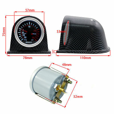 "2"" Turbo Boost Gauge Meter Universal Smoke Face Tinted PSI with Carbon Fiber Pod"