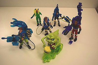 Ghostbusters Lot Of 6 Figures Including Slimer and Proton Packs! Works! 1997