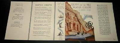 DEATH ON THE NILE - 1937 by Agatha Christie - Facsimile Dustjacket Only