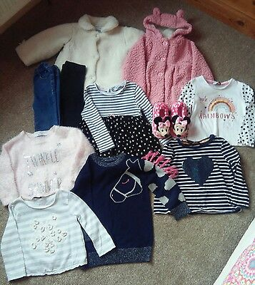 Bundle of baby girls 12-18 months clothes. Tops, trousers, coats