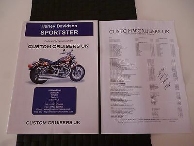 Harley Davidson Sportster Parts/accessories Catalogue Custom Cruisers Uk *read*