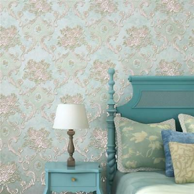 10m 3D Embossed Textured Floral Non-woven Flocking Wallpaper Wall Roll Decor LH