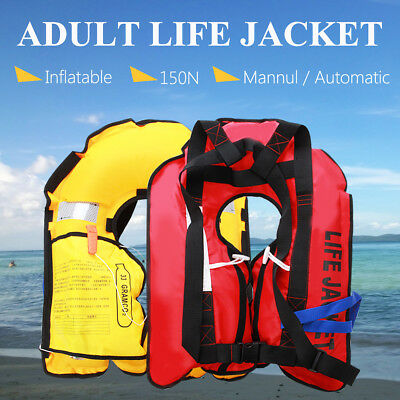 Adult Inflatable Life Jacket 150N Manual Automatic Sailing Boating Buoyancy Aid