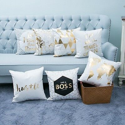 Throw Cushion Cover Pillow Case Home Sofa Decor Linen Square Gold Letter Printed