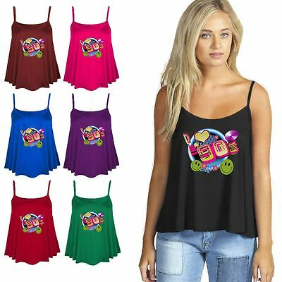 I Love The 90s Printed Cami Swing Flared Vest Ladies Fancy Dress Top Outfit