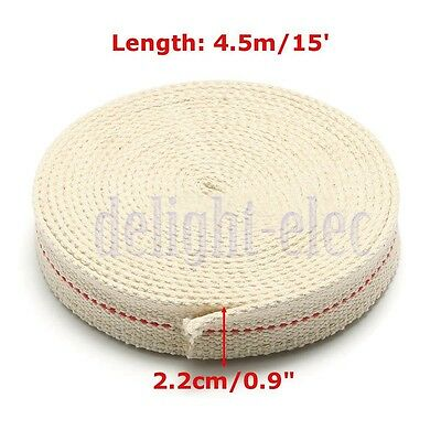 "7/8"" 2.2cm Flat Cotton Wick 15 foot roll Oil Lamp Wick and Lanterns Wick New DG"