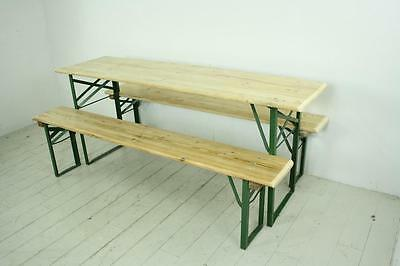 Vintage Industrial German Beer Table Bench Set Garden Customised Length Natural