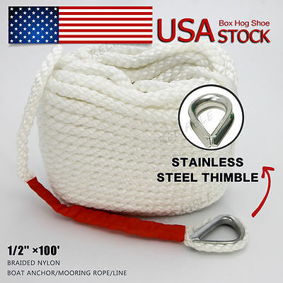 White Twisted 1/2'' ×100' ft Boat Marine Anchor Line Dock Mooring Rope US STOCK