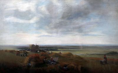 A 19th Century English pastel on paper 'At the end of the harvest'