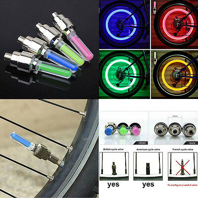 2pcs Bike Bicycle Car Motor Wheel Tyre Tire Valve Cap LED Neon Flash Lamp Light