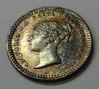 1843 Queen Victoria Young Head Silver Three-Halfpence for Colonial Use UNC