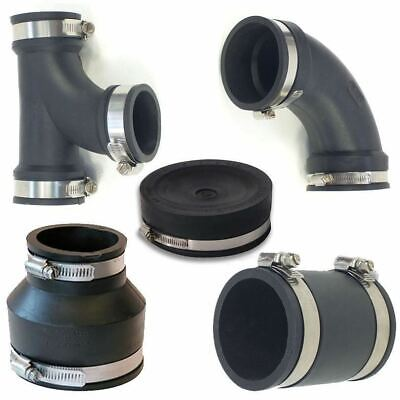 """Rubber Pipe Fittings 4"""" Flexible Pond Connector Tee Elbow End Cap Reducer"""