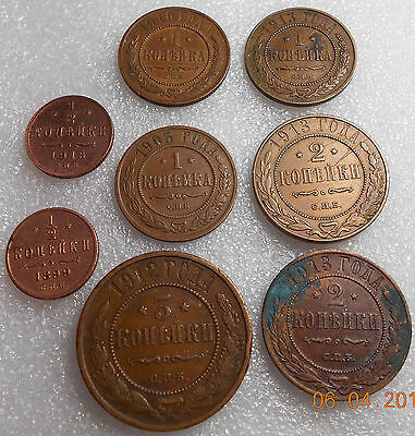 Russian 8 Coin 1/2-1-2-3  Kopeks Circulated 1899 1903 1910 1912 1913