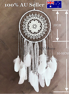Large 55cm Dream Catcher Feather Lace Hanging Room Decoration Ornament