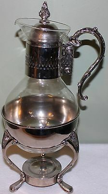 Vintage Silver Plate & Glass Heated Coffee / Tea Carafe with Holder