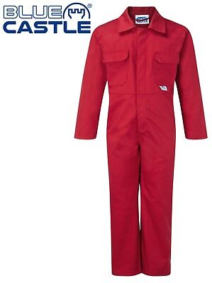 Children's Kids Boys Girls Play Suit Overall Coverall Garage Mechanic Work - RED