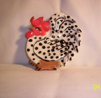 Chicken F165 -42ch-  Ceramic Black / White  ROOSTER Spoon Rest