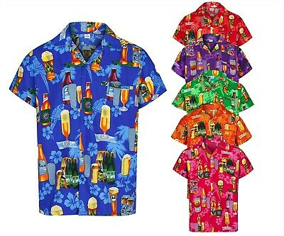 Mens Hawaiian Shirt Beer Bottle Stag Fancy Dress Palm Beach Holiday Summer Aloha