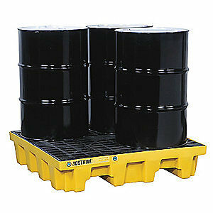 JUS Recycled Polyethylene Drum Spill Cntnmnt Pallet,4 Drum,5k lb., 28634, Yellow