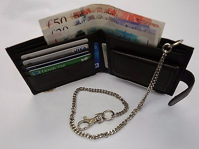 Soft Leather Gents Wallet with Security Chain Brown RFID Protected