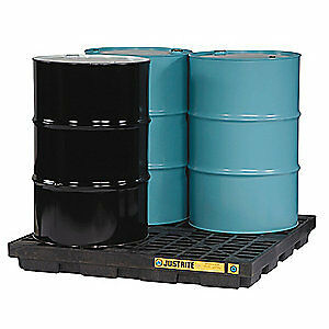 JUST Recycled Polyethylene Drum Spill Cntnmnt Pallet,4 Drum,5k lb., 28657, Black