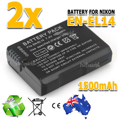 2X EN-14 EL14 ENEL14 1500mAh Backup Battery For Nikon Camera D3100 D5100 P7000