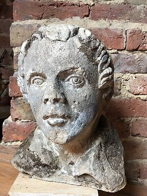 Antique 19th Century Carved Stone Bust Head Of A Man Sandstone Church Sculpture