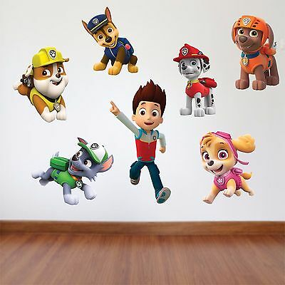 Paw patrol Kids Bedroom Vinyl Decal Wall Art Sticker - 7 Character Selection