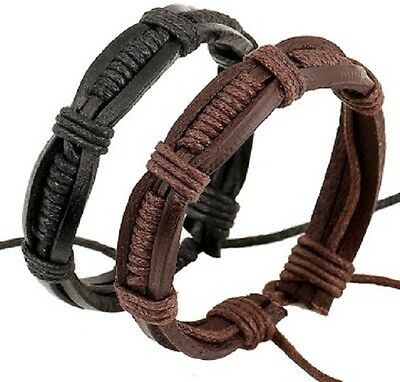 Real Leather Surfer Style Wristband Wrist Strap Band Bracelet Black Brown A88 89