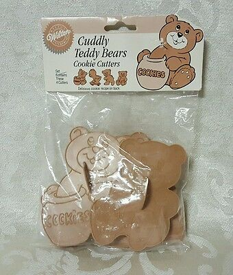 Wilton Baking Cuddly Teddy Bear Cookie Cutters Brown 4 Pack Recipe On The Back