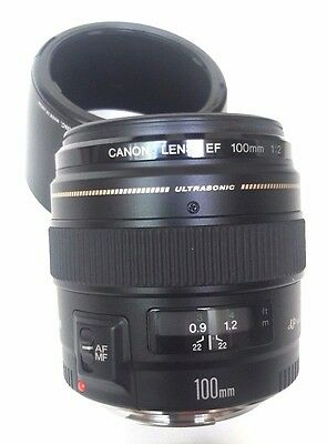 Canon EF 100mm f/2 USM Lens - Near Mint Condition - With Canon Hood!
