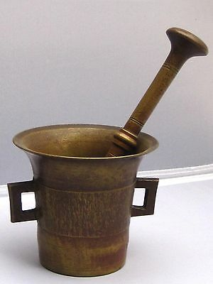 Antique 19th c. Bronze/Brass Apothecary Mortar & Pestle No.4 - Height 4-1/8""