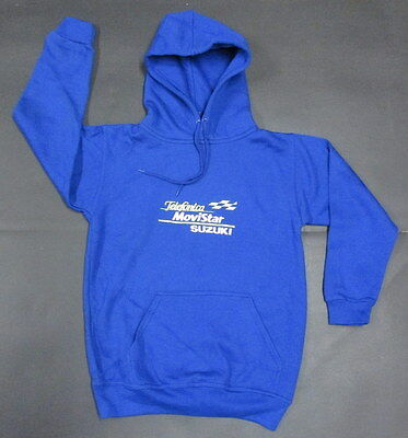 Genuine Childrens Kids Movistar Suzuki Hooded Top Blue Embroidered Logo
