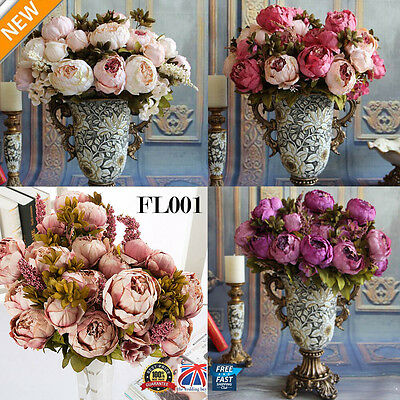 1 Bouquet Artificial Fake Peony Silk Flower Bridal Hydrangea Wedding Party FL001