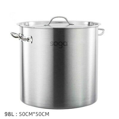Brand New Stainless Steel 98L (50Cm) Stock Pot Chef Quality 12 Month Warranty