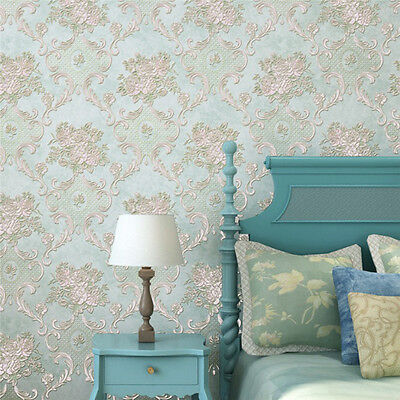10m Relief Flower Embossed Textured 3D Wallpaper Roll TV Background Decoration