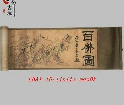 "Old Chinese Silk paper Painting Buddhist ""One Hundred Buddha"" Scroll Painting"
