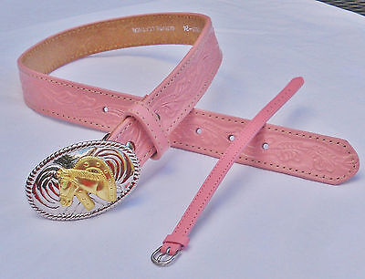 NOCONA PINK LEATHER TOOLED WESTERN BELT Horseshoe Buckle/PinkBracelet Girls 24
