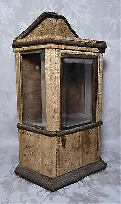 Antique 19th C. Victorian Cloth Covered Wall Hanging Wood Display Case Cabinet