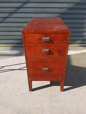 Old vintage rustic 3 Chest drawers / filing cabinet nice wooden feel very solid