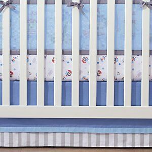 BreathableBaby Cotton Crib Skirt, Blue/Grey 15112-DISC