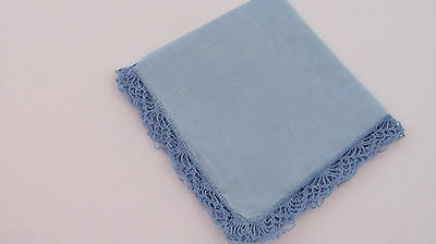 Vintage Blue Crocheted Lace on Blue Irish Linen Hankie 12.5""