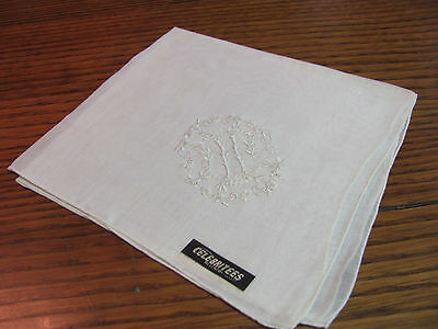 "Vintage Madeira Embroidered White Monogram ""H"" Brides Celebritees Hankie NWT"