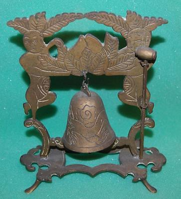 antique chinese temple bell & mallet vtg ornate buddhist hanging bell & gong