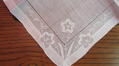 Vintage White Madeira Embroidered Applique Flowers Bride's Wedding Hankie #4