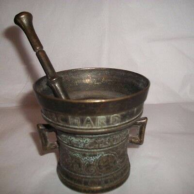 Vintage Apothecary Mortar and Pestle Richard Startyn 1623