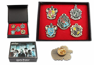 NEW Set of 5 pcs Harry Potter Hogwarts House Metal Pin Badge In Box Xmas Toys