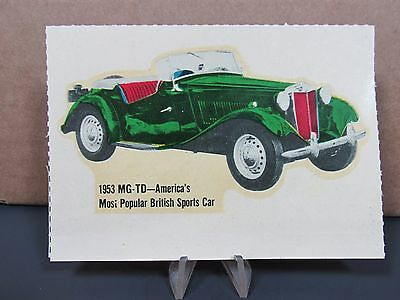 MG-TD Window Sticker 1953 MG Window Decal Vintage Decal
