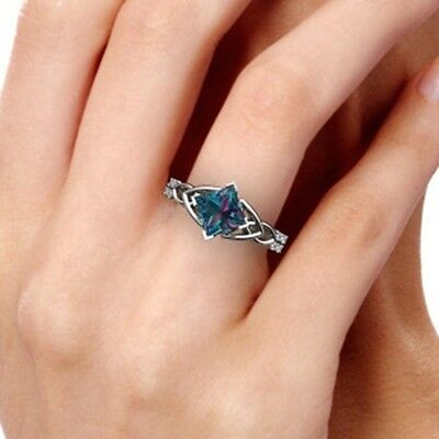 925 Silver Ring 2.8CT Natural Topaz Vintage Jewelry Wedding Engagement Size 6-10